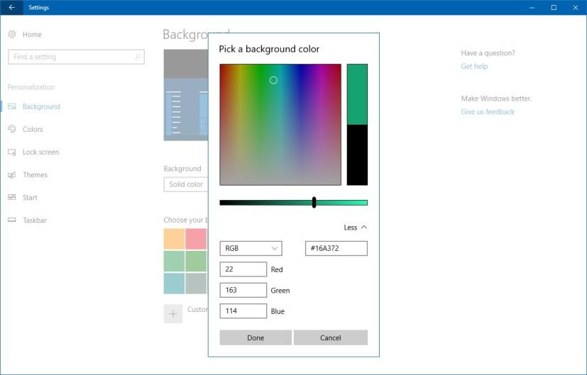 Pick custom background color
