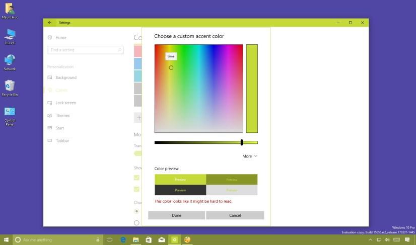 Windows 10 custom accent color