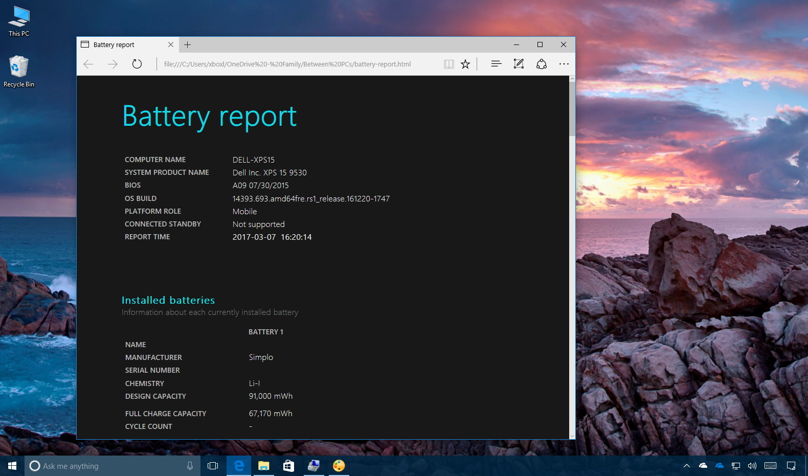 Laptop battery report on Windows 10
