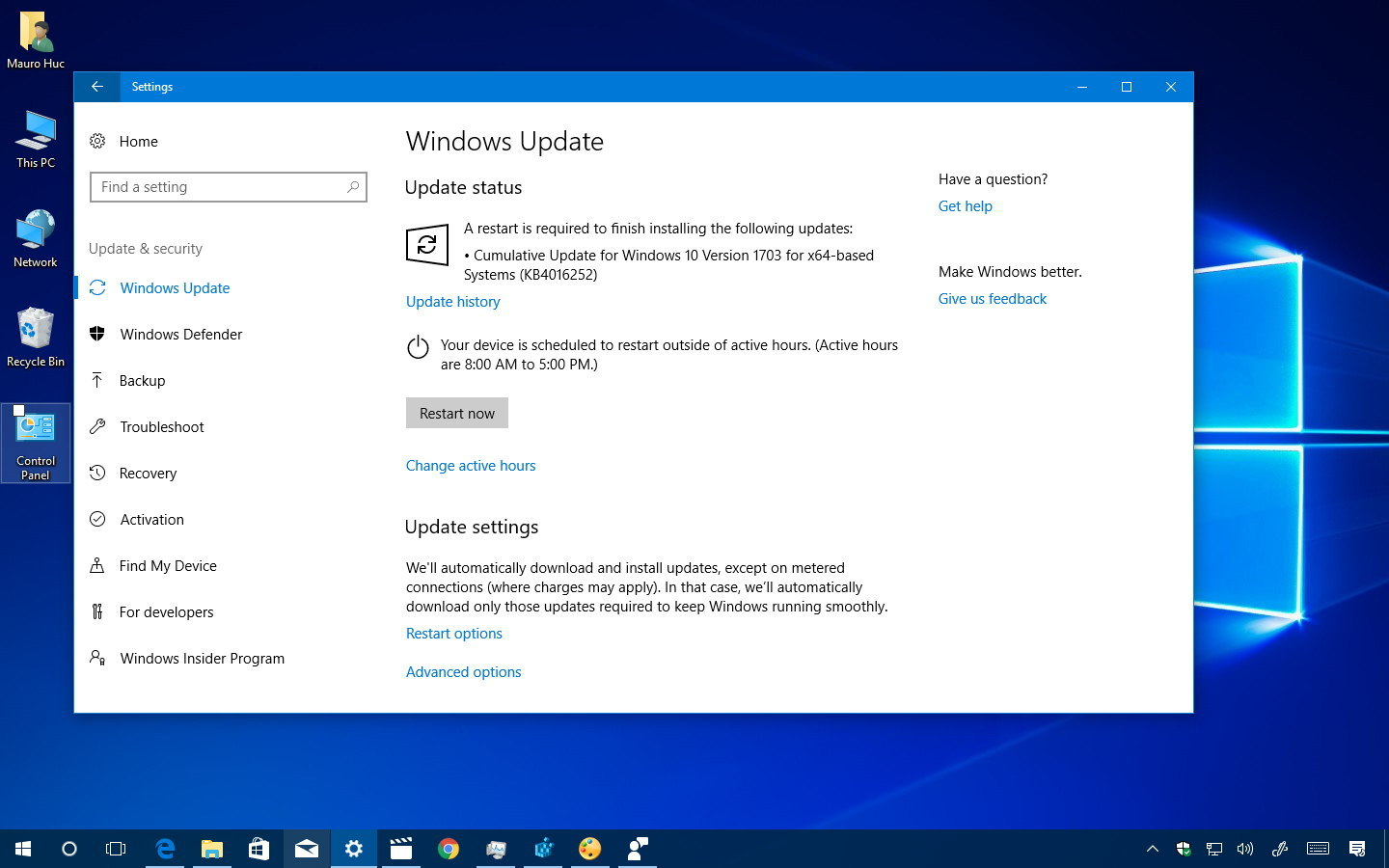 KB4016251 and KB4016252 releases for the Windows 10 Creators Update