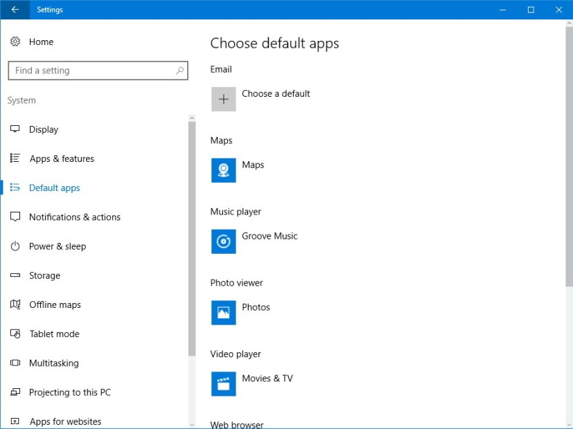 Default apps settings on Windows 10