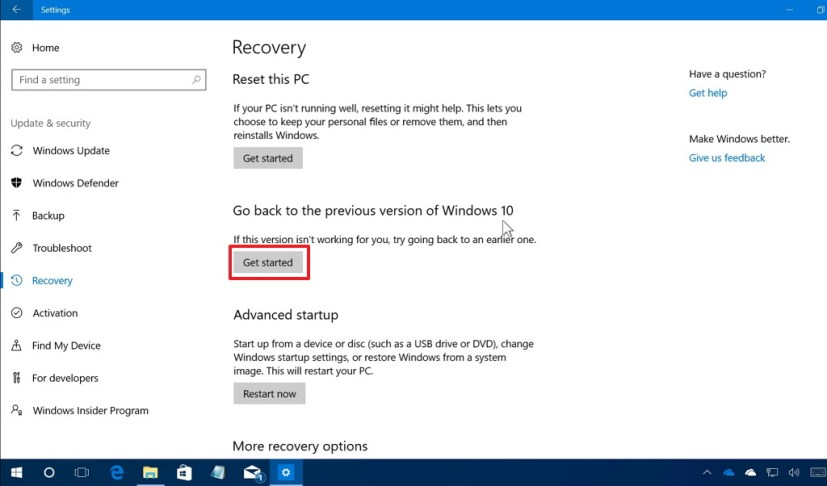 Go back to the previous version of Windows 10