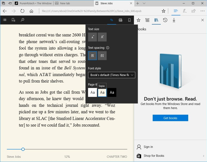 Microsoft Edge e-book reader