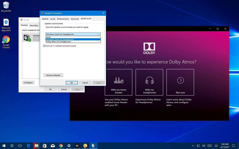 Spatial sound setup on Windows 10