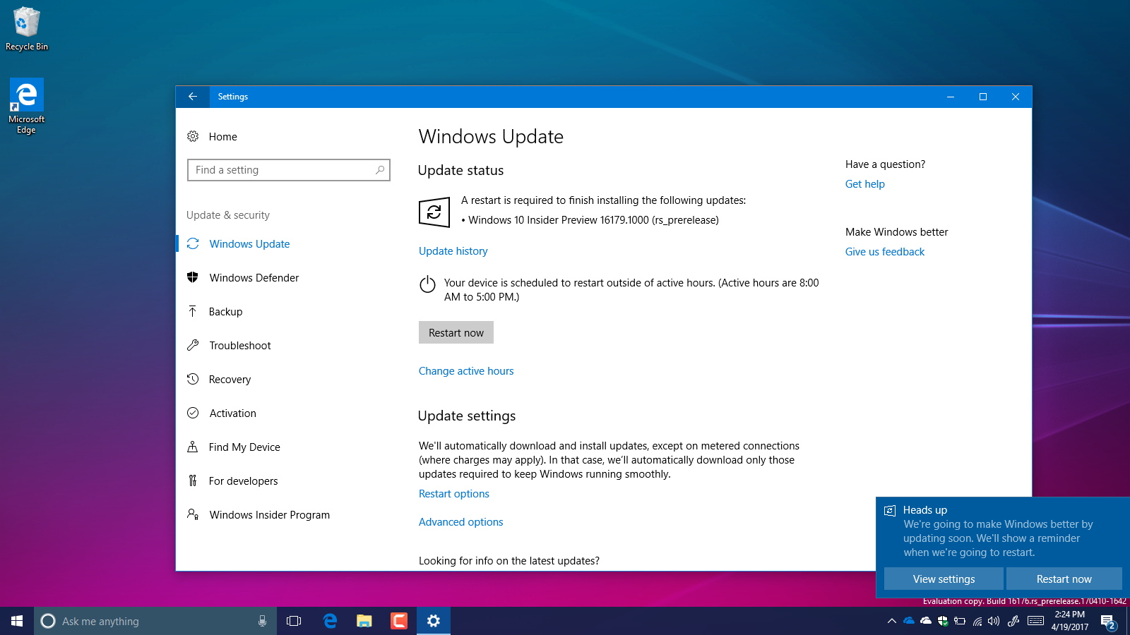Windows 10 build 16179
