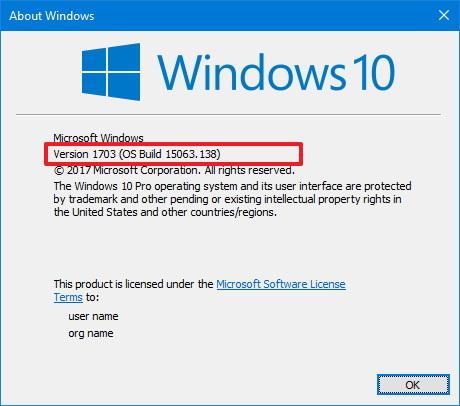 winver command on Windows 10 Creators Update