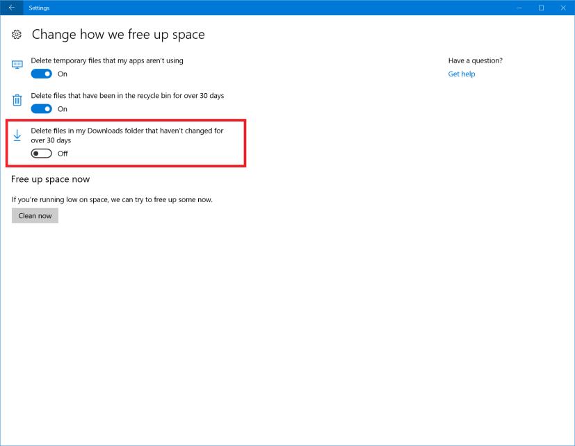 Settings Storage Sense Downloads folder option