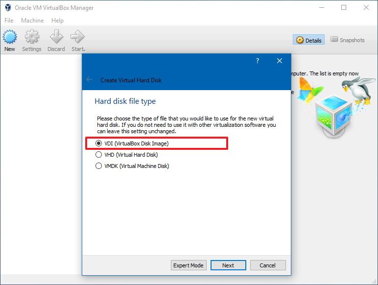 Virtual machine hard disk settings