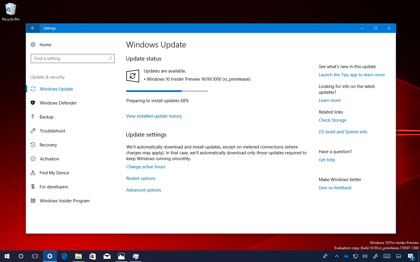 Windows 10 build 16199