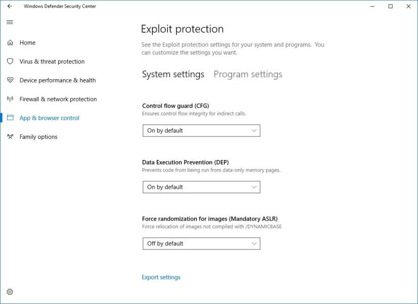 Windows Defender Exploit protection settings