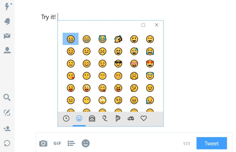 Hardware keyboard emoji panel Windows 10 Fall Creators Update