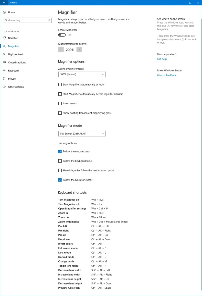 Magnifier settings on Windows 10