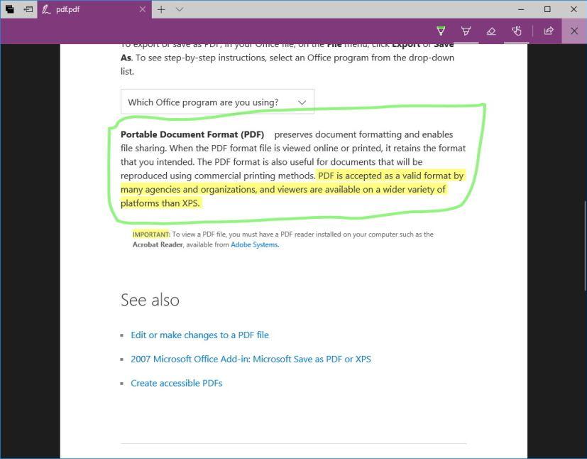 Microsoft Edge PDF annotation
