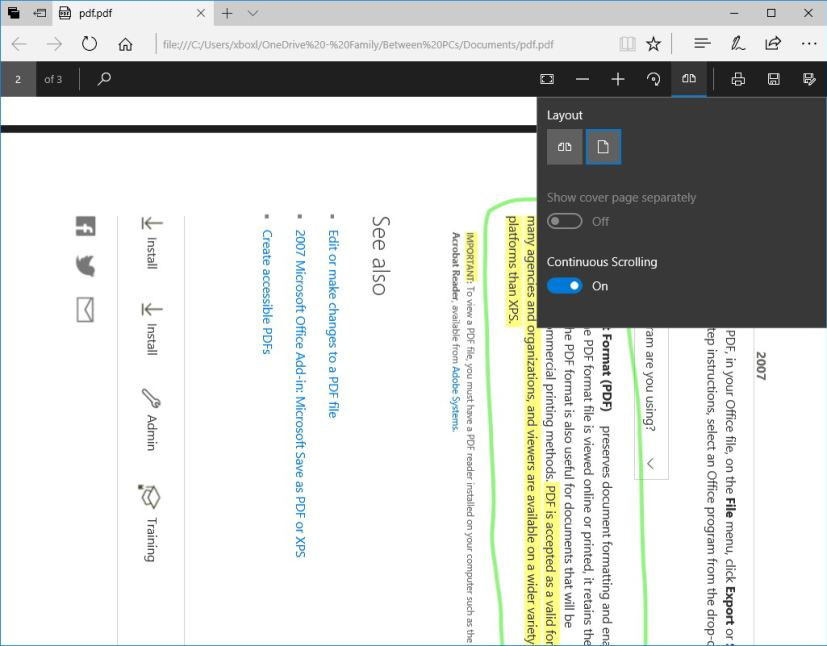 Microsoft Edge PDF rotation