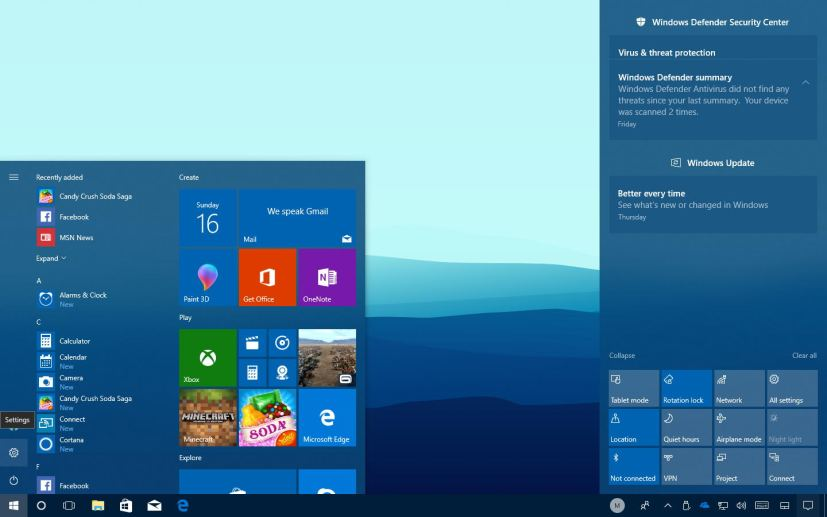 Microsoft Fluent Design System on Start menu and Action Center