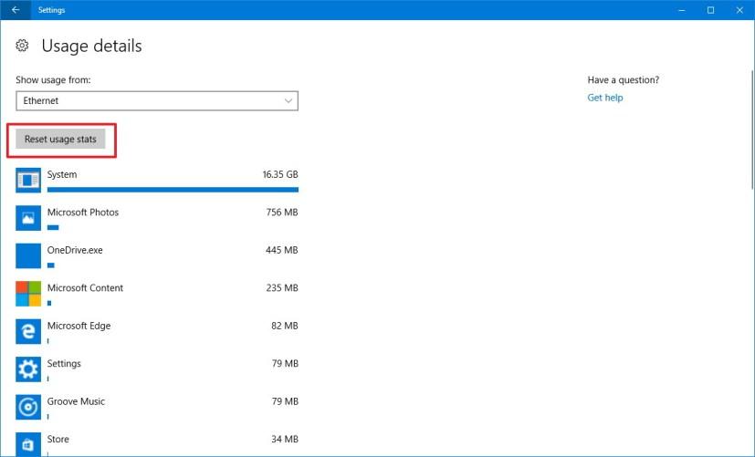Reset usage data on Windows 10