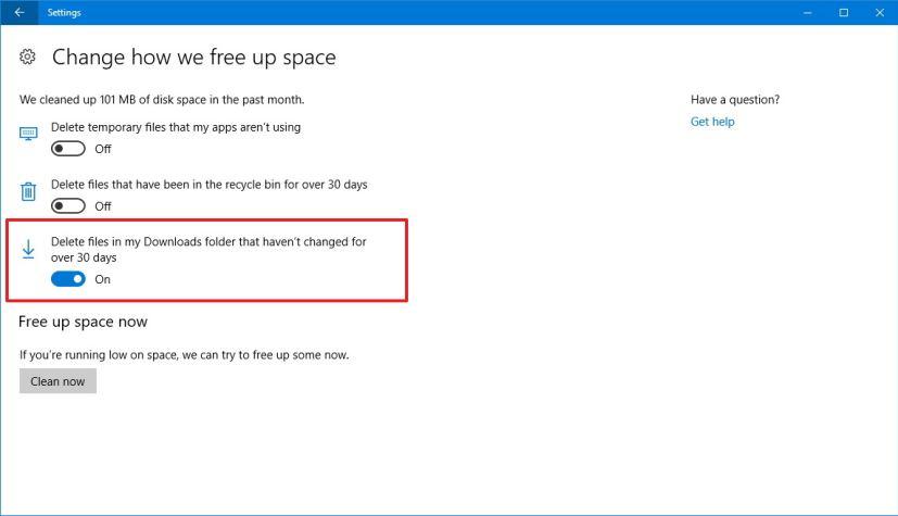 Windows 10 Storage Sense settings