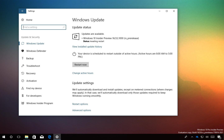 Windows 10 build 16232