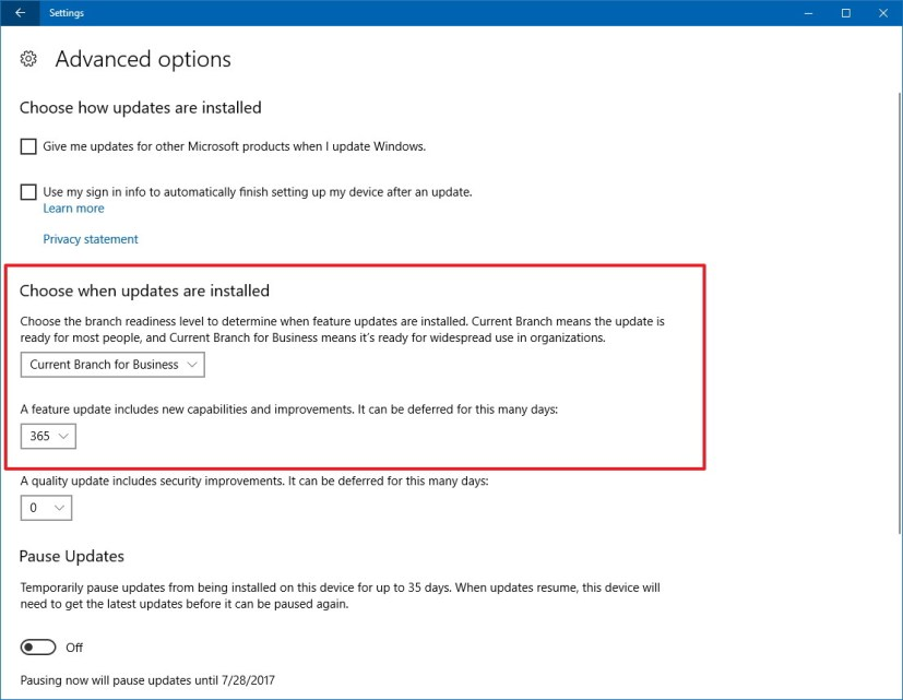 Windows 10 defer feature update settings