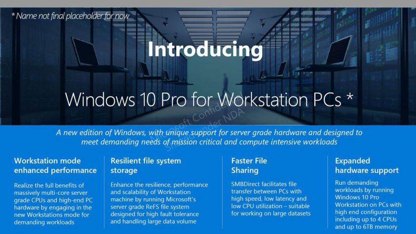 Windows 10 Pro for Workstation PCs (leaked slide)