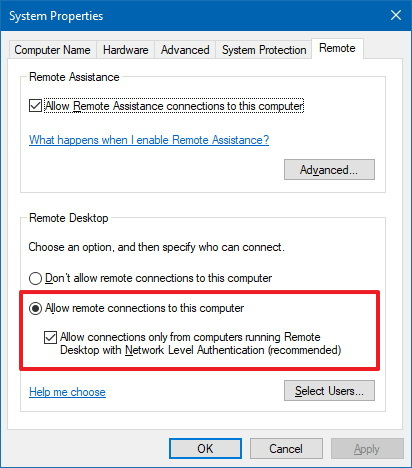 Remote settings on System Properties