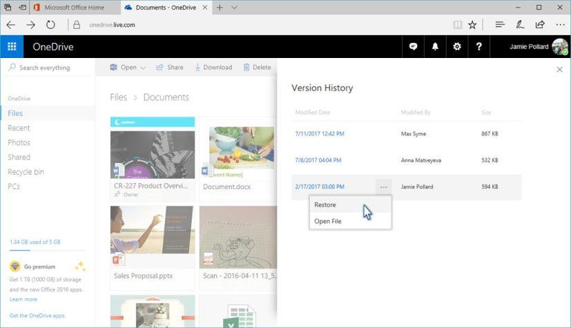 OneDrive version history restore