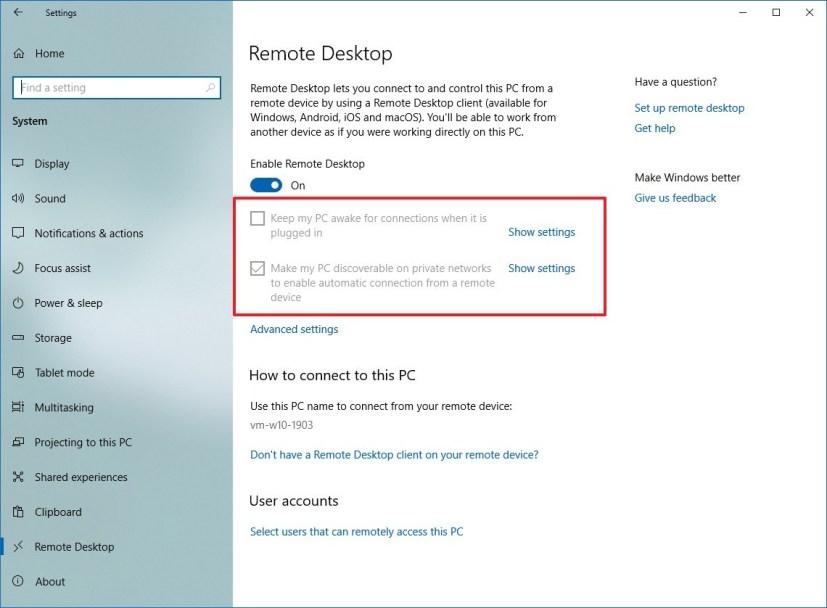 Windows 10 Remote Desktop settings
