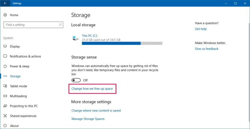 Storage sense settings