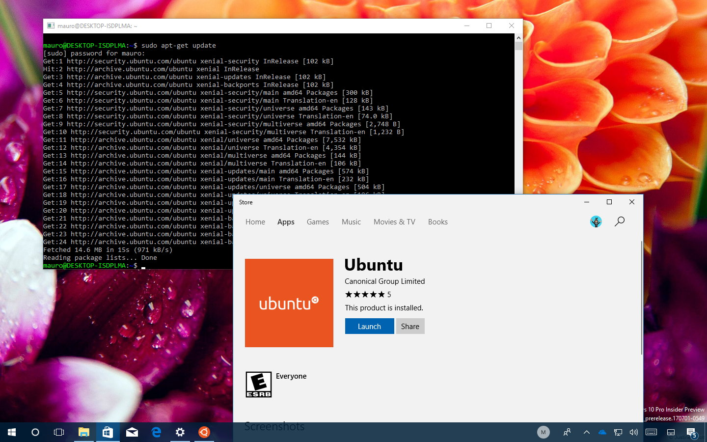 Ubuntu for Windows 10 in the Store