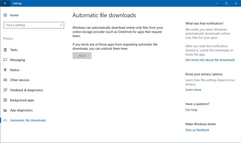 Automatic file downloads settings on the Windows 10 Fall Creators Update