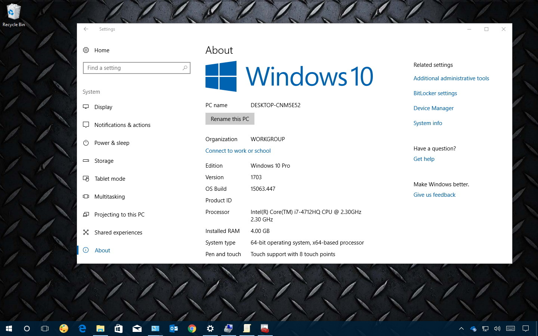 Windows 10 hardware configuration