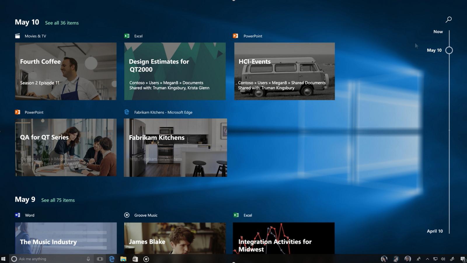 Windows 10 Timeline feature