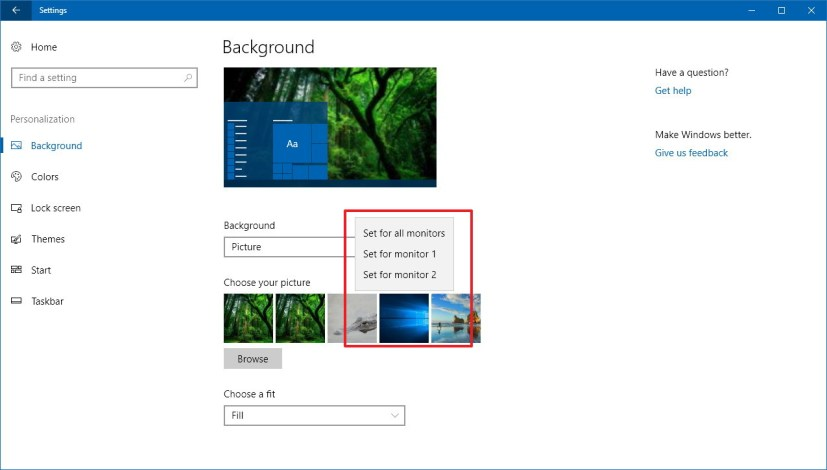 Background settings on Windows 10