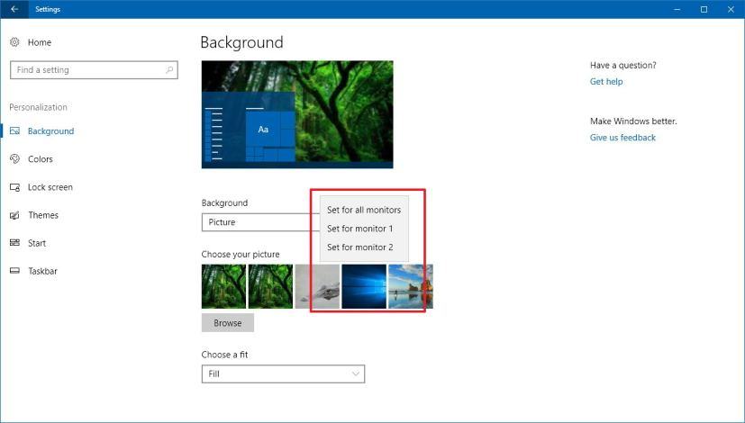 Background settings on Windows 10