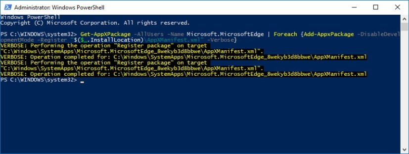 PowerShell reinstall Microsoft Edge