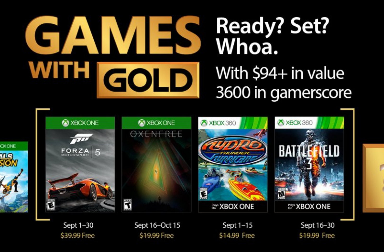 September 2017 Xbox with Gold Games
