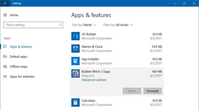 Uninstall apps on Windows 10 settings