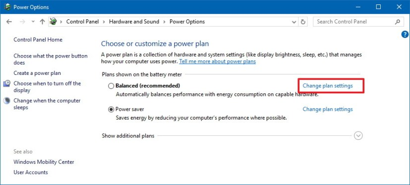 Change plan settings on Windows 10