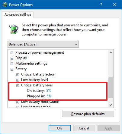 Critical battery level notification settings