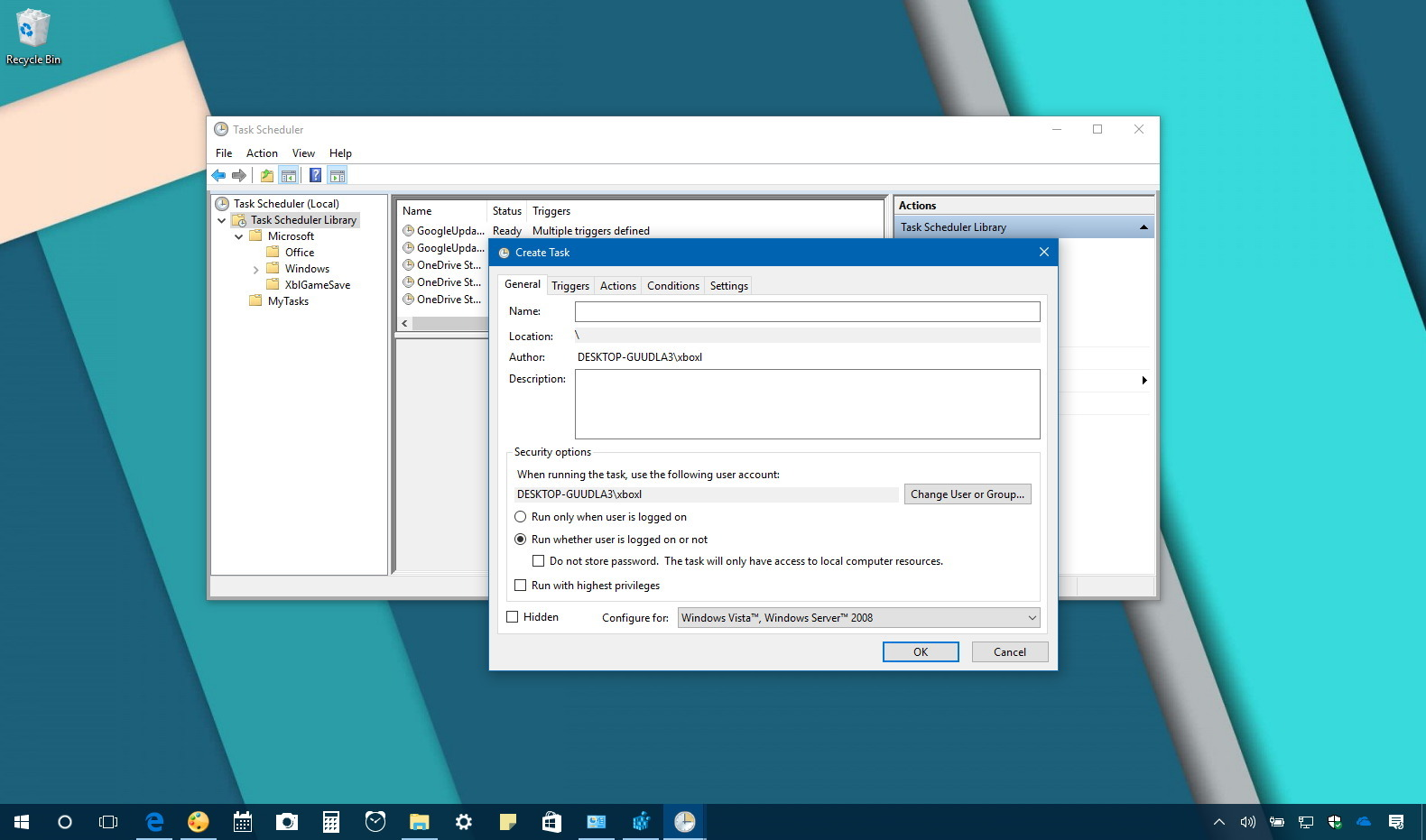 Task Scheduler with option to prevent command window