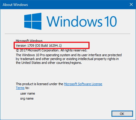 Winver command on Windows 10