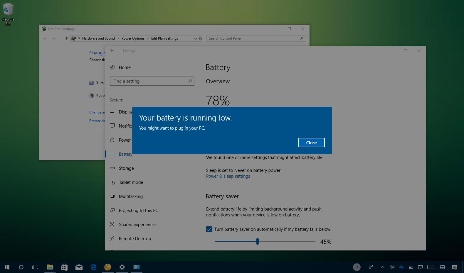 Windows 10 low battery notification