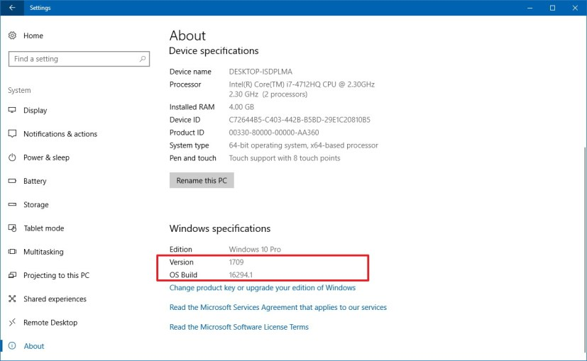 About page Settings app on Windows 10