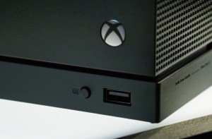 Xbox One X with logo in the front