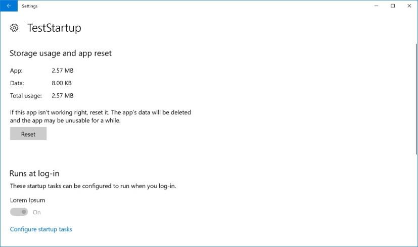 App Startup Tasks settings on Windows 10 build 17025