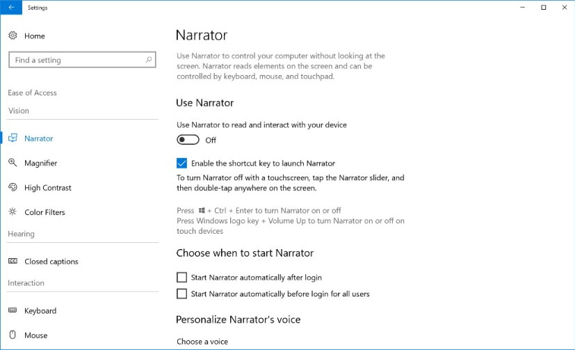 Ease of Access settings in build 17025