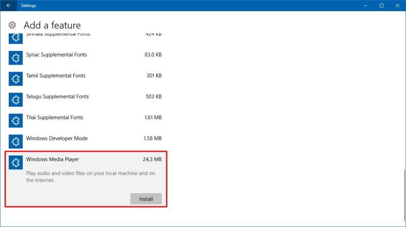 Install Windows Media Player on Windows 10