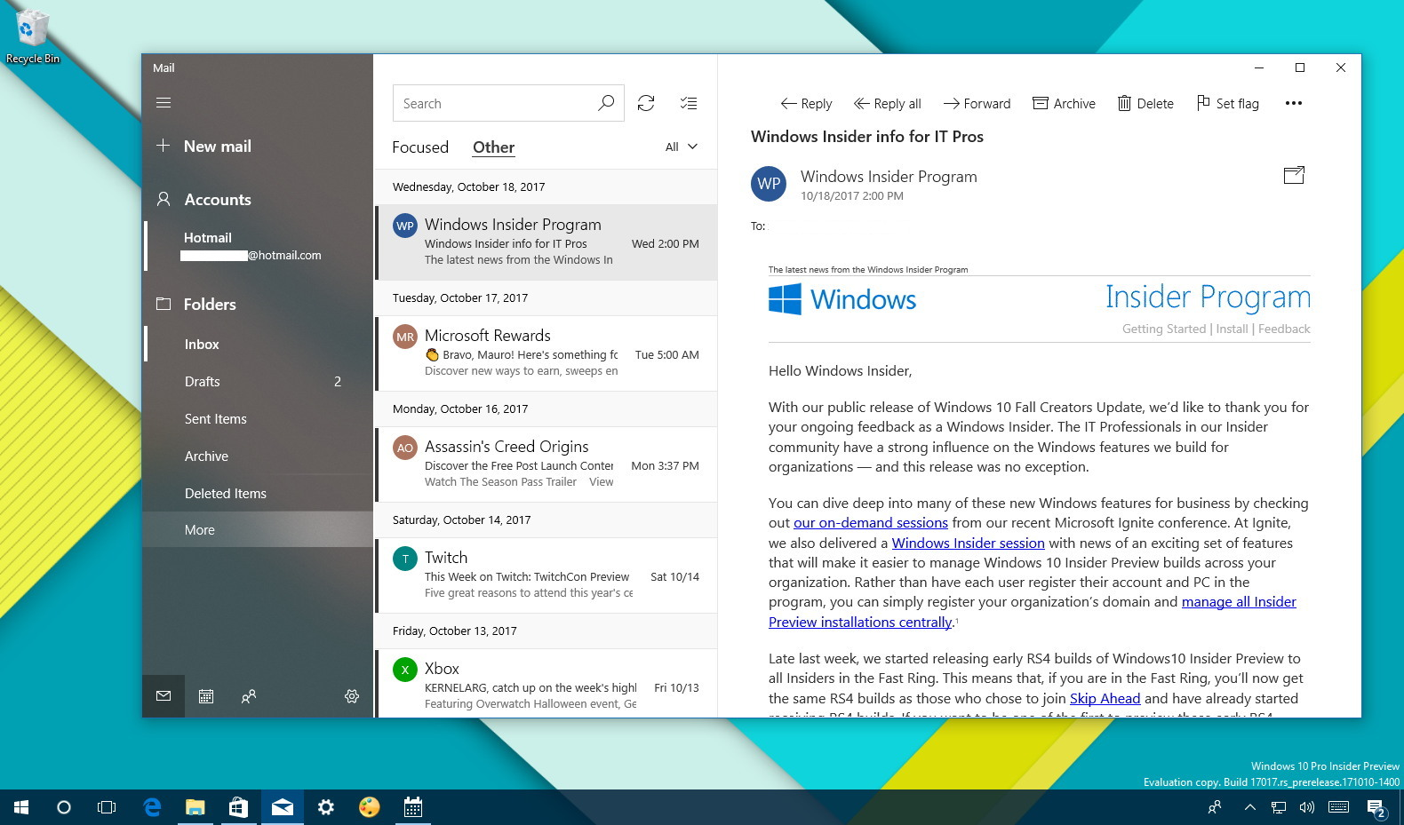 Microsoft Mail and Calendar with Fluent Design improvements