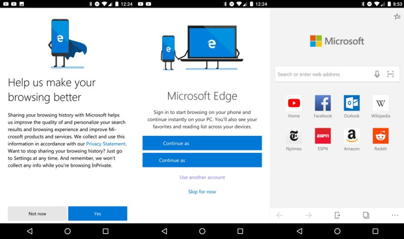 Microsoft Edge on Android