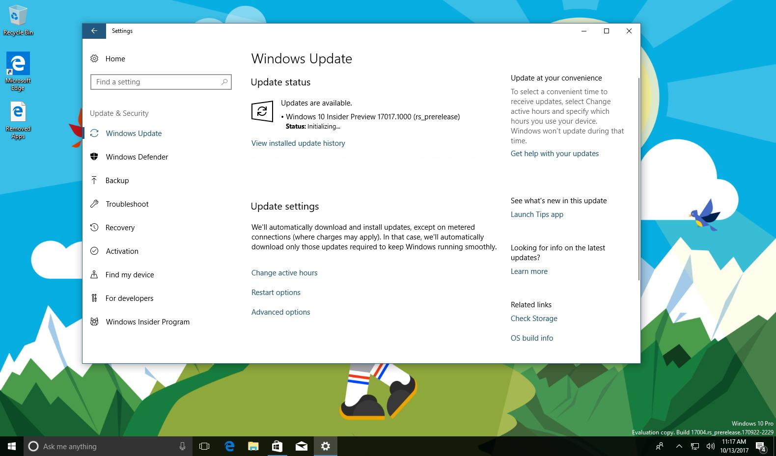 Windows 10 build 17017